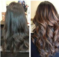 Brunette with highlights 2014. Before and after highlighting procedure.  Tired of dull hair? Add some texture using highlights! This will make your hair outstanding and vivid!