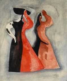 Carlos Orozco Romero - Women, 1939, watercolour