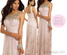 Camille La Vie Glitter Illusion Neck Long Prom Dress