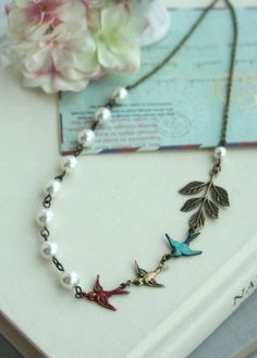 Flying Swallow Birds NecklaceTeal Blue Red Brass