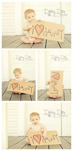 Baby boy at six 6 months. Debby Ditta Photography: Baby Happy Father's Day with sign. Tomball Houston Texas Photographer