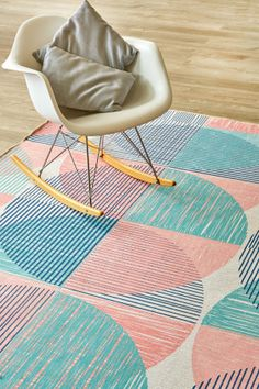 Muted Spheres: X metres. Please note that, as these printed rugs are mad. News Design, Rug Making, Color Splash, Contemporary Design, Family Room, Cool Designs, Kids Rugs, Fun, Prints