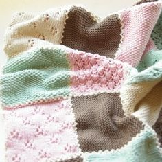 by BlumeAndJensen Knit baby blanket patch work. by BlumeAndJensen Patchwork Patterns, Knitting Patterns, Lace Knitting, Knit Crochet, Baby Shawl, Crochet Borders, Knitted Baby Blankets, Pink Brown, Baby Shower Gifts