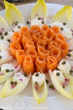 Smoked Salmon Roses with Endive and Creme Fraiche