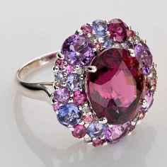 Rhodolite ring and colored stones by Isabelle Langlois