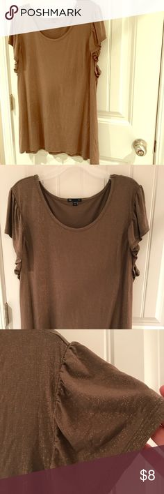 Shimmering flutter sleeve top—GAP Neutral flutter sleeve top with a hint of gold. Can easily transition from the office to dinner. Longer hem and flowing fabric is flattering on fuller figures. GAP Tops Blouses
