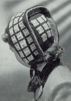 Items similar to PDF Vintage Girl Hat Knitting Pattern Bonnet Dutch Cap Winter War Time Ephemera Plaid Checquer Jacquard Tassels Unusual on Etsy Vintage Knitting, Vintage Crochet, Baby Knitting, Girls Winter Hats, Girls Hats, Vintage Girls, Vintage Outfits, Vintage Patterns, Vintage Ideas