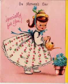 Vintage 1950s On Mother's Day Greetings Card B4a
