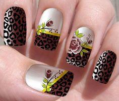 Flower Nail Designs, Nail Art Designs, Diva Nails, Black Nail Art, Fabulous Nails, Glue On Nails, Flower Nails, Beautiful Nail Art, Mani Pedi