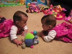 """""""Am I looking into a mirror?"""" my twins at 5 months old"""