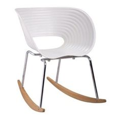 Fine Mod Imports Vac Arm Rocker Chair-Color:White,Style:Contemporary/Modern, Beige