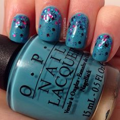 Week 1: Teal for #busygirlnails I did this combo not long ago and knew I wanted to use @opi_products Can't Find My Czech book again. Amazing formula that just glides on. Glitter gradient done with OPI's Polka Dot Com. Topped off with #hkgirltopcoat #opi #cantfindmyczechbook #polkadotcom #Padgram