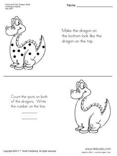 Snapshot image of Count and Color Dragon Spots worksheet