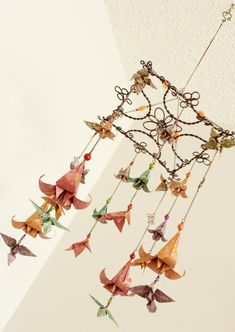 Elegant Origami Mobile with Hummingbirds and Lilies - Autumn Colors - Flower Mobile - Baby Mobile - Nursery Decoration - Decorative Mobile