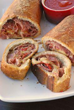 Hearty food!  --> Stromboli w/salami,capocollo, and provolone