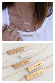 mama bar necklace, personalized bar necklace, gold bar necklace, Mother's Day gift.