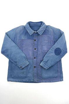 French vintage patched moleskine work jacket/France