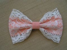 Peach and lace-HAIR BOW, kids hair bows, Teens, women, Fabric Bows .Hand made vintage hair bows by ClipaBowBoutiqueLove the colour combination:)Ribbon bow for hair accessories Fabric Ribbon, Ribbon Bows, Ribbons, Vintage Hair Bows, Kids Hair Bows, Hair Kids, Hair Bow Tutorial, Bow Hair Clips, Bow Clip
