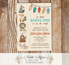 Brave One Tribal Woodland Fox Bear Baby Shower Invitation wood background - Wild little one Indian Baby shower invite - no color changes by NotableAffairs