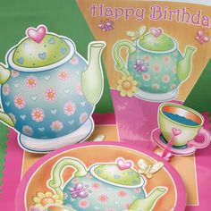 My Paper Shop.com - Tea Party Supplies feature a design with a colorful teapot and tea cups adorned with flowers, hearts and butterflies. This delightful collection includes shades of orange, pink, yellow, purple and green. This exciting design is printed on the following party items:  Paper Napkins ,  Paper Plates  ,  Beverage Cups ,  Table Covers ,  Invitations , and  Thank You Cards  . You can add additional decor with our matching accessories and decorations which include: ...