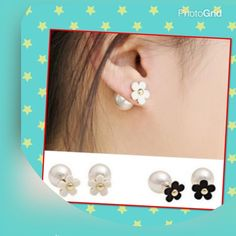 2 pairs pearl double side stud earrings 2 pairs (black/white) personality flower and pearl double side stud earrings material type zine and alloy you can wear normally or mix the color brand new in bag price is firm unless you bundle Jewelry Earrings