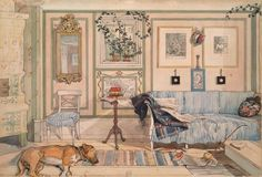"""Cosy Corner"". Carl Larsson, 1894. This rendering still looks very timely except for the pipe. via"