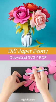 Learn how to make these beautiful DIY paper peony flowers. Click to watch the full video tutorial and download templates for cutting machines and for hand cutting! Paper Flowers Craft, Large Paper Flowers, Flower Crafts, Diy Flowers, How To Make Flowers Out Of Paper, Diy Paper Crafts, Flower Making Crafts, Mexican Paper Flowers, Paper Origami Flowers