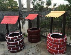 Diy Garden Projects, Garden Crafts, Garden Art, Garden Design, Ponds Backyard, Backyard Landscaping, Painted Tires, Tire Garden, Pallet Garden Furniture