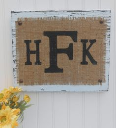 Burlap Monograms LETTERs Sign, Letter, YOUR INITITALs, You choose letters on Etsy, $42.00