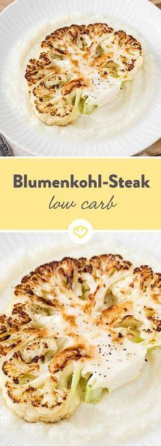 We love cauliflower! Cauliflower steak with cauliflower purée- Wir lieben Blumenkohl! Blumenkohlsteak mit Blumenkohlpüree Juicy steak on a fluffy puree – sounds good? Hcg Recipes, Broccoli Recipes, Healthy Recipes, Steak Recipes, Salmon Recipes, Grilling Recipes, Vegetable Recipes, Vegetarian Recipes, Cauliflower Puree