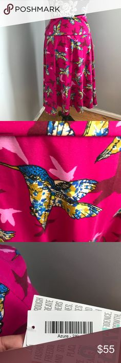 💕Lularoe UNICORN hummingbird print Azure Skirt! Oh so girly and pretty! Super rare and hard to find! NWT. Gorgeous floral printed hummingbirds in blue, white and yellow on a fuchsia pink background. Treat yourself!!!💕 LuLaRoe Skirts A-Line or Full