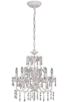 "Five Light Chandelier I, 19""Hx17""W, BEIGE GOLD by Home Decorators Collection. $229.00. Five 60W B type bulbs, included.. Lamp: 19""H x 17""W.. Everything about our lighting shimmers. The beautiful prism crystals will highlight any space.The dazzling clear crystals and matching metal leaves will add more definition to your room. The sturdy chain makes it easy to place in your grand foyer for a dramatic entrance or over your dining room table. Order classic lighting for you..."