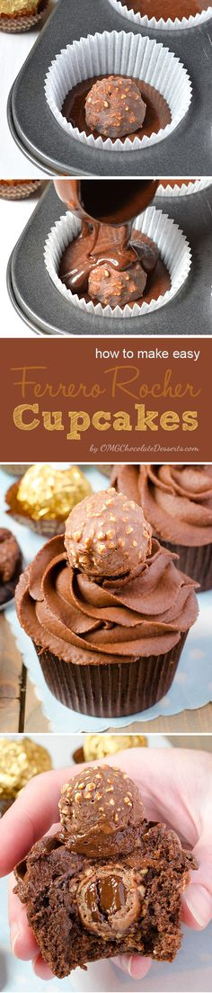 Ferrero Rocher Cupcakes and I love the idea of this. I f you like baking cupcakes with Ferrero Rocher inside, this is your lucky day! Cupcake Recipes, Baking Recipes, Cupcake Cakes, Dessert Recipes, Baking Cupcakes, Cup Cakes, Cookie Recipes, Baking Cookies, Yummy Cupcakes