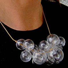 Glamorous Glass by Petra Glasova: Share my fascination with dreamy bubble glass jewellery. Clear glass bubble jewellery set containing a necklace, a bracelet and earrings. Glass Jewelry, Unique Jewelry, Jewellery, Necklace Designs, Petra, Fascinator, Clear Glass, Bubbles, Glamour