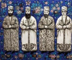 Iranian molded tile showing four nobles in attendance at the court of Nāṣer al-Dīn Shah, ceramic, mid-19th century; in the Brooklyn Museum, New York. Credit: Photograph by Katie Chao. Brooklyn Museum, New York.