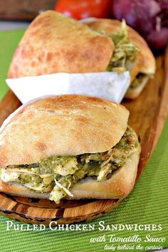 My pulled chicken sandwiches with tomatillo sauce is perfect for game day! #sandwich #gameday #recipes #food #foodie