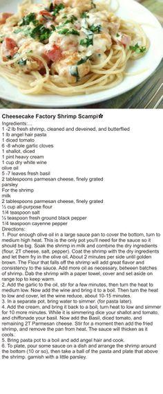 Cheesecake Factory Shrimp Scampi✿