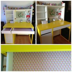 Ikea Micke desk for my 6 year old.  Contact paper added in the drawers.  An inexpensive modern option to all of the ugly kid's desks out there.  ($130)