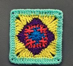 Primary Diamond Granny Square | Bright colors, fun stitches - what more could you ask for in a crochet granny square?