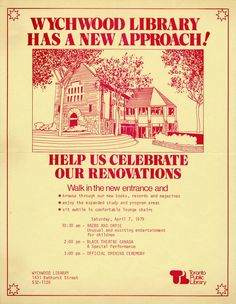 Wychwood Library has a new approach! Date: 7 April 1979 Toronto Public Library Carnegie Library, Library Boards, Mind Body Spirit, Libraries, New Books, Toronto, Public, York, History