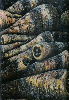 untitled parsnips no.1 Fish, Meat, Vegetables, Painting, Pisces, Painting Art, Vegetable Recipes, Paintings, Painted Canvas