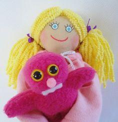 Little Girl Doll Holding A Monster Doll  OOAK by JoellesDolls, $30.00