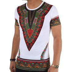 John H - Tee Shirt Dashiki T160933 Blanc - LaBoutiqueOfficielle.com African Attire For Men, African Clothing For Men, African Shirts, African Wear, African Dress, African Style, African American Fashion, African Inspired Fashion, African Print Fashion
