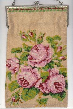 Ditsy Rose has her beady eye on this delightful Vintage Floral Beaded Purse!   *ephemeral emerald*