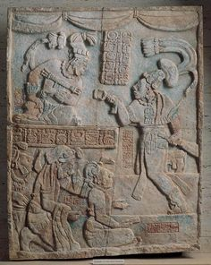 Presentation of Captives to a Maya Ruler is a carved limestone relief with traces of paint. It depicts It depicts the presentation of captives in a palace throne room to a king and his military chief.
