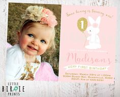 BUNNY BIRTHDAY INVITATION Bunny First by littlebirdieprints