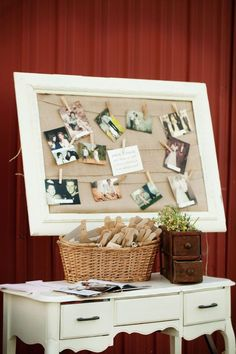 burlap backing, old pictures, clothespins, perfection.