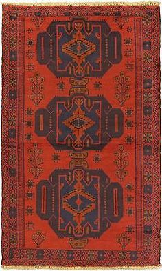 "Hand-knotted Afghan Carpet 3'8"" x 6'4"" Bahor Traditional Red Wool Rug"