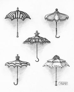 Victorian Parasols Drawing  - Victorian Parasols Fine Art Print - Adam Zebediah Joseph