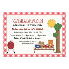 BBQ cookout family reunion custom invitation with red gingham border.